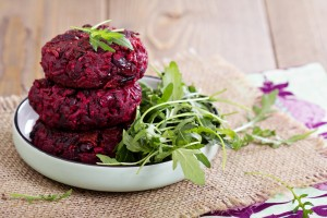 Beetroot vegan burgers with rice and red beans