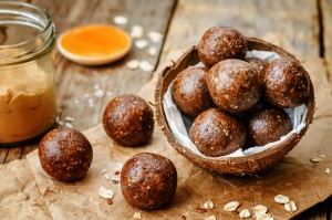 Raw vegan peanut butter oat coconut cacao balls.
